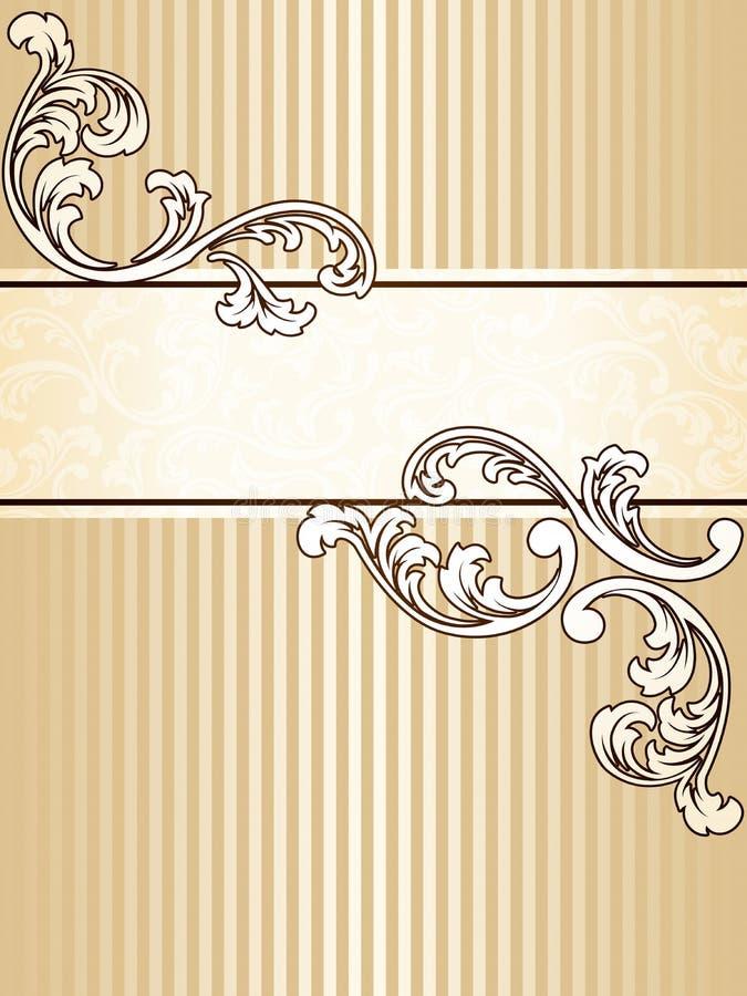 Bandera elegante de la sepia de la vendimia, vertical ilustración del vector