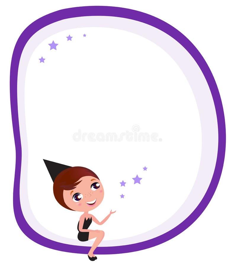Bandera en blanco de Víspera de Todos los Santos con la muchacha linda de la bruja ilustración del vector