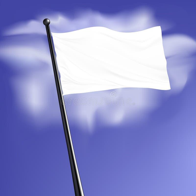 Bandera en blanco del vector con el polo de acero libre illustration