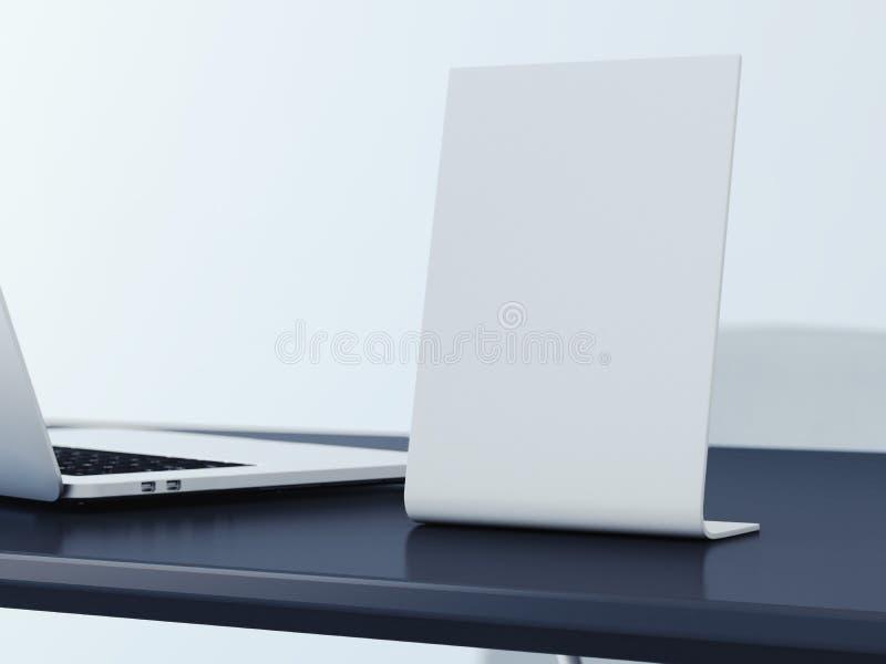 Bandera en blanco en la tabla de la oficina representación 3d ilustración del vector