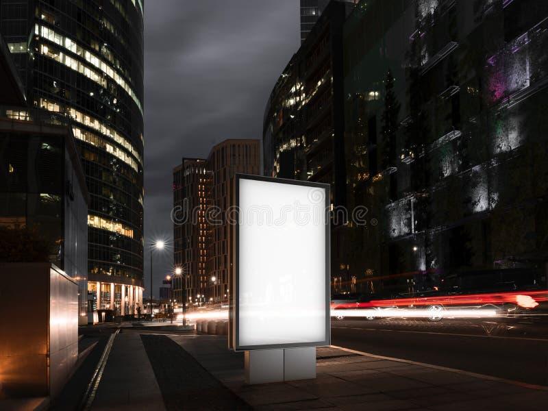 Bandera en blanco en la noche en la ciudad representación 3d stock de ilustración