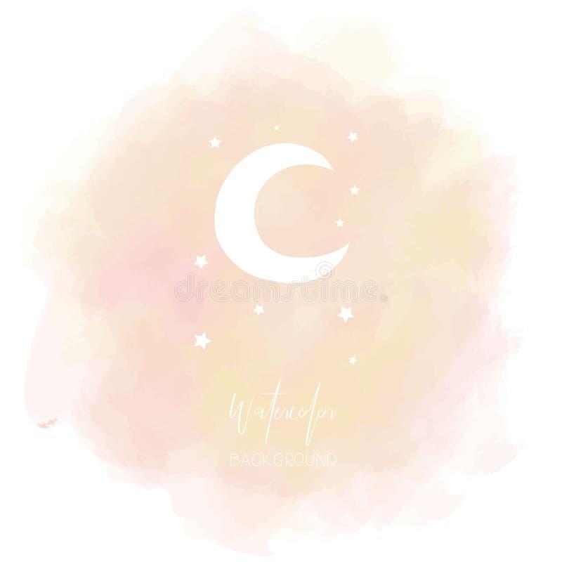Bandera en colores pastel rosada anaranjada clara del círculo con el icono de la luna libre illustration