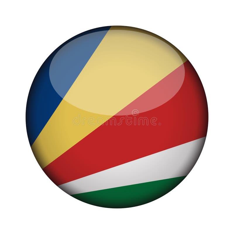 Bandera en el botón redondo brillante del icono ilustración del vector