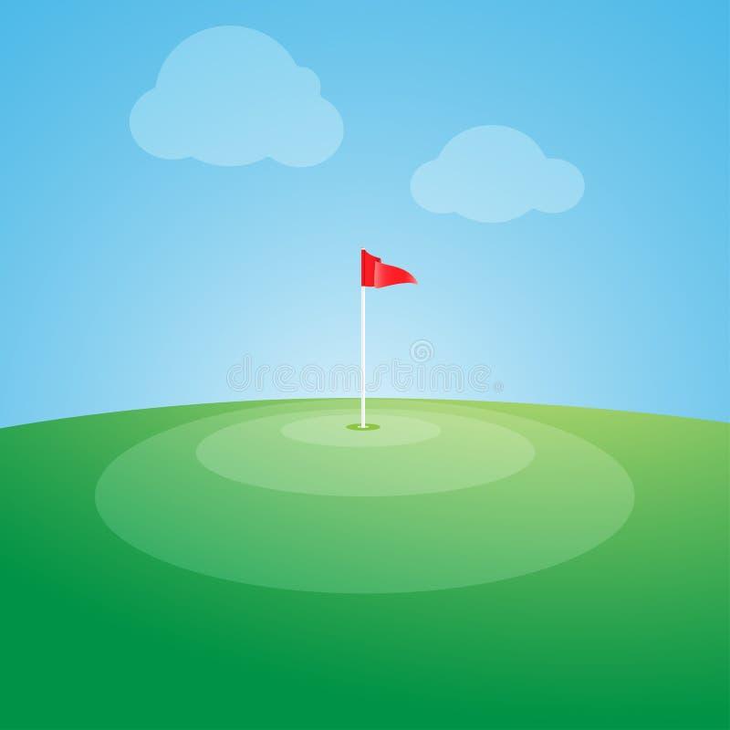 Bandera en el campo de golf stock de ilustración