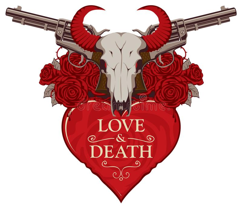 Bandera en el tema del amor y de la muerte con las pistolas ilustración del vector