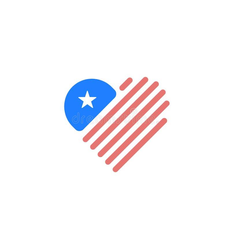 Bandera en forma de corazón de los E.E.U.U. con las rayas, la estrella y colores rojos, azules El diseño del ejemplo del vector t stock de ilustración
