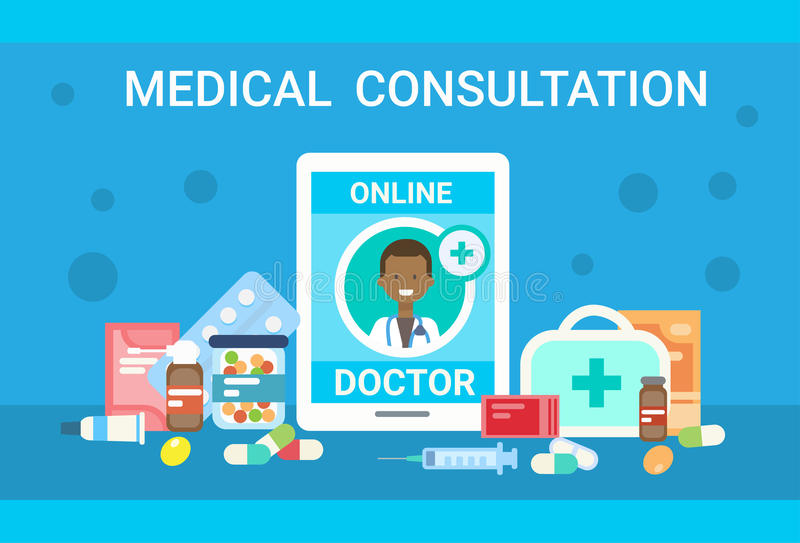 Bandera en línea de la medicina del servicio del hospital del doctor Health Care Clinics de la consulta médica libre illustration