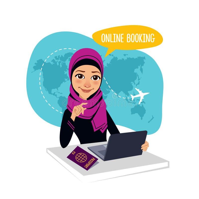 Bandera en línea de la reservación Reservación en línea de los billetes de avión Mujer árabe que se sienta en la tabla en oficina stock de ilustración