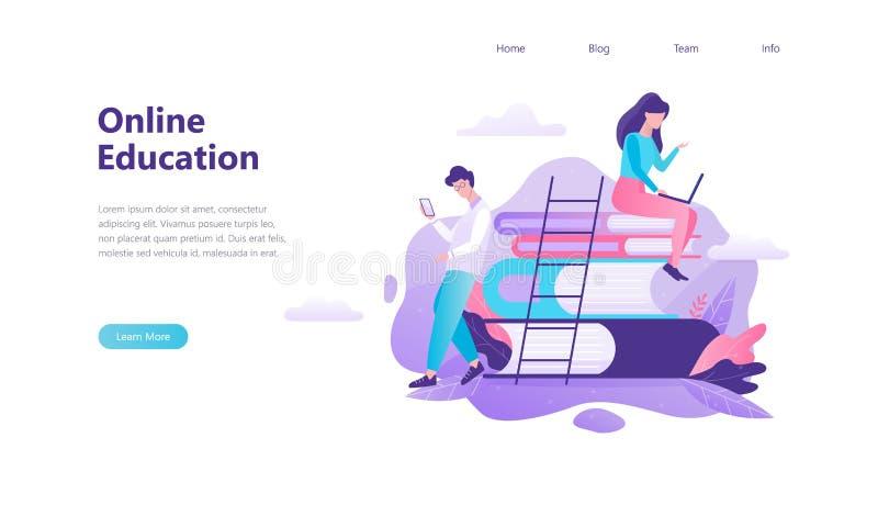 Bandera en línea de la web de la educación Idea de la distancia stock de ilustración