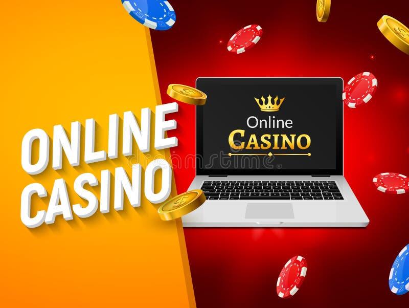 Bandera en línea del casino con las monedas del ordenador portátil y los microprocesadores que caen Juego del dinero de la suerte libre illustration