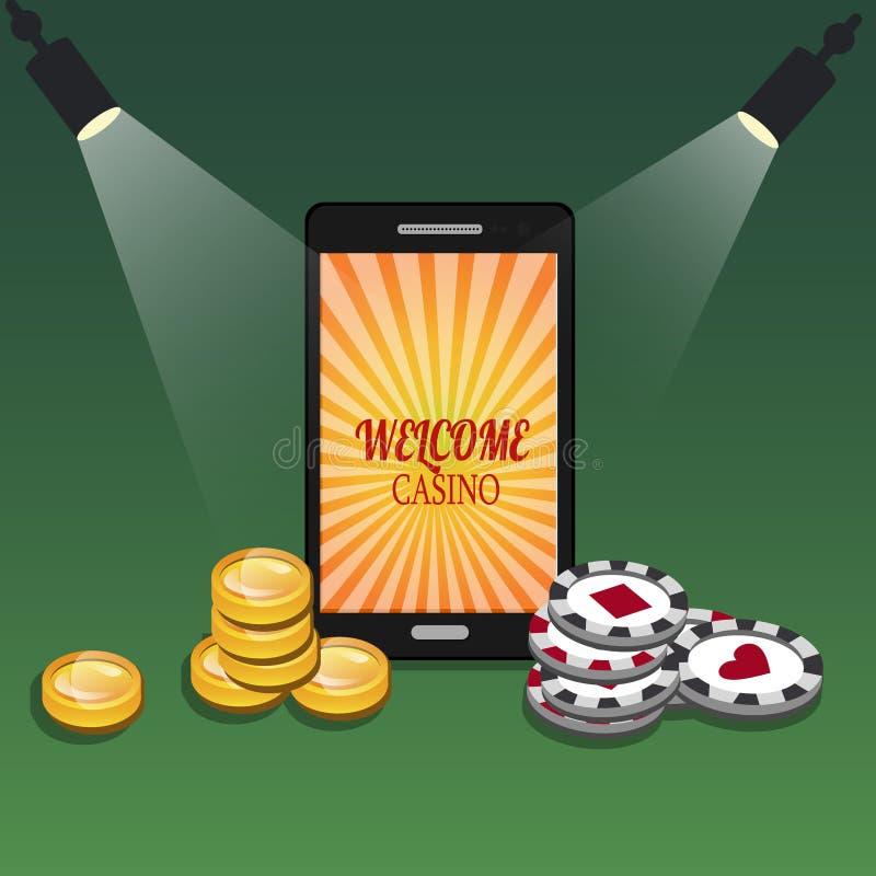Bandera en línea del casino con un teléfono móvil, los microprocesadores y el dinero stock de ilustración