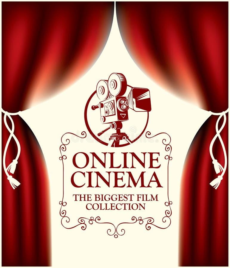 Bandera en línea del cine con las cortinas y la cámara vieja ilustración del vector