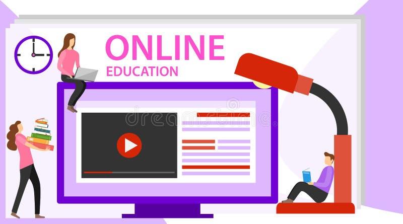 Bandera en línea del concepto de la educación con los caracteres Página en línea del aterrizaje de la educación para la web  stock de ilustración