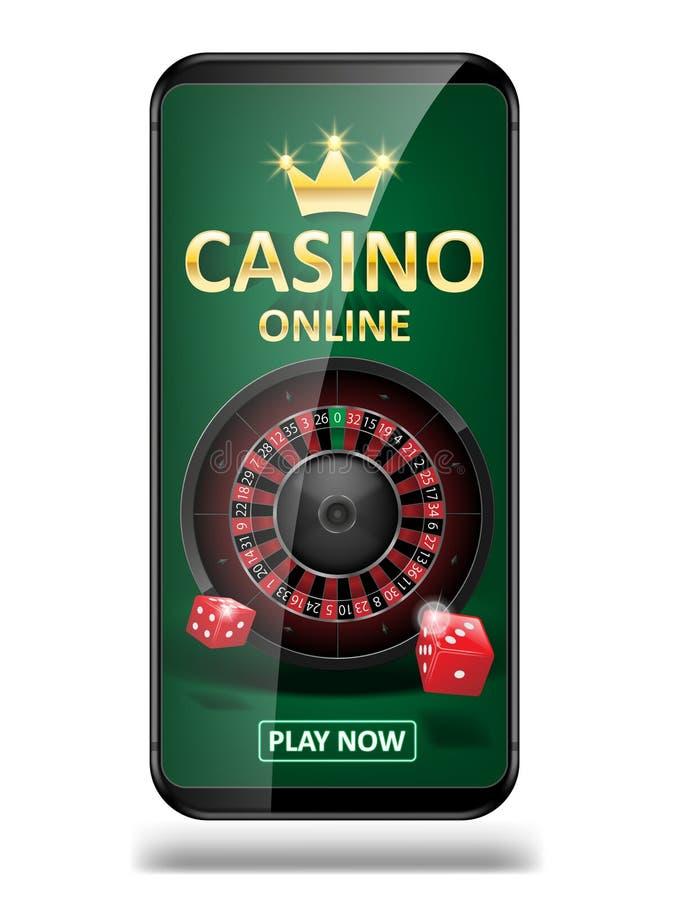 Bandera en línea del márketing del casino de Internet llame por teléfono al app con los dados, el póker y la rueda de ruleta Juga stock de ilustración