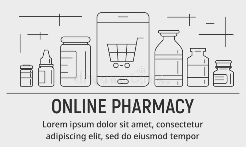 Bandera en línea moderna de la farmacia, estilo del esquema libre illustration