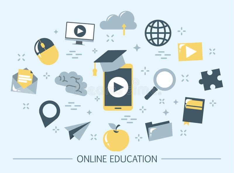 Bandera en l?nea de la web de la educaci?n Idea de la distancia ilustración del vector