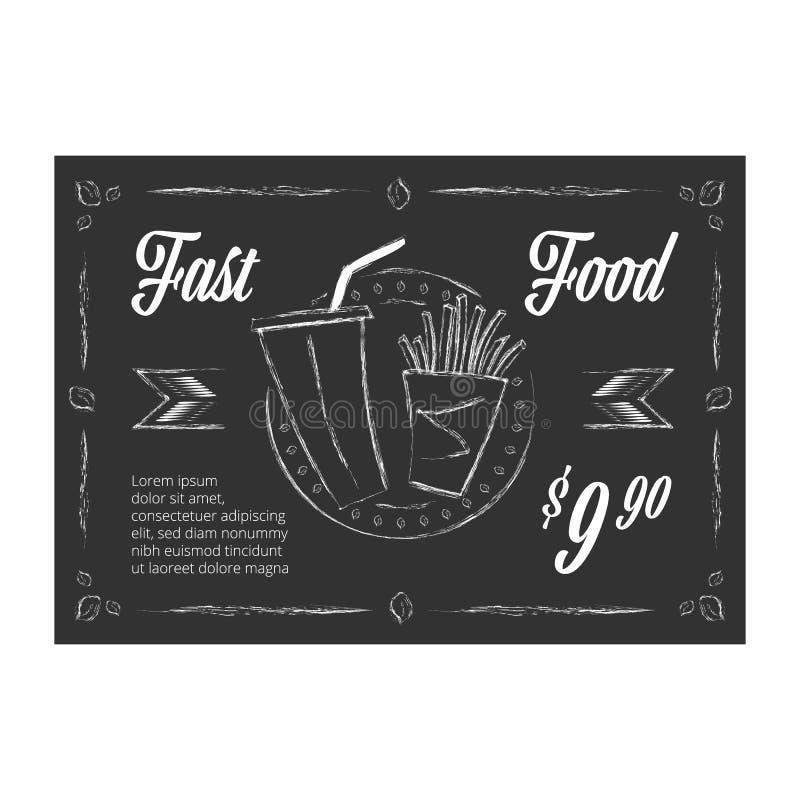 Bandera en la pizarra - vector del vector del vintage de los alimentos de preparación rápida ilustración del vector