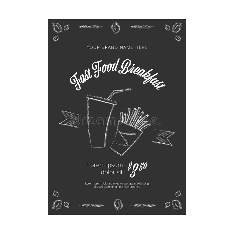 Bandera en la pizarra - vector del vector del vintage de los alimentos de preparaci?n r?pida ilustración del vector