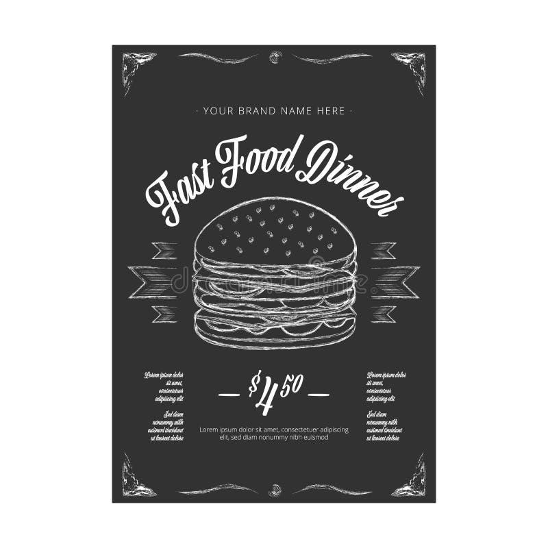 Bandera en la pizarra - vector del vector del vintage de los alimentos de preparaci?n r?pida stock de ilustración