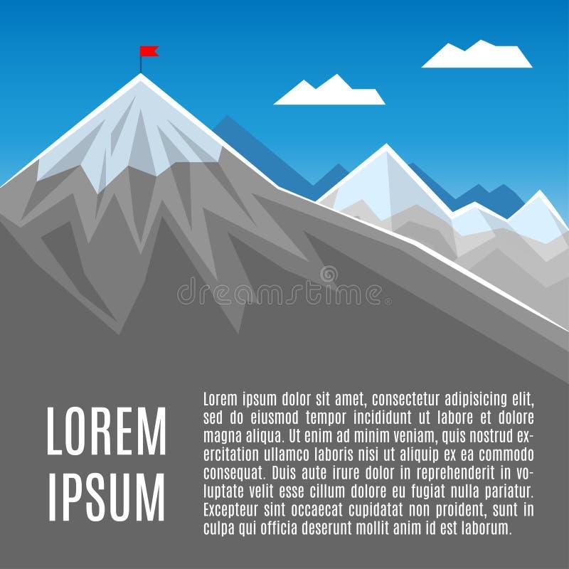 Bandera en pico de montaña, éxito o el ejemplo del concepto del negocio ilustración del vector