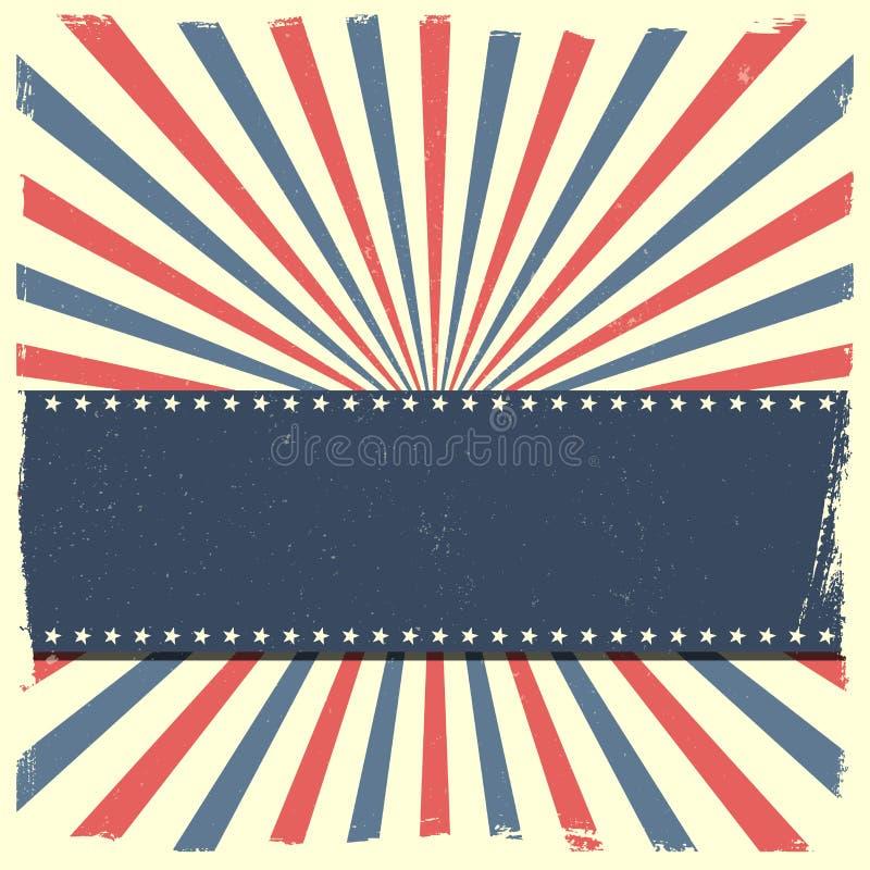 Bandera en un fondo rayado patriótico ilustración del vector