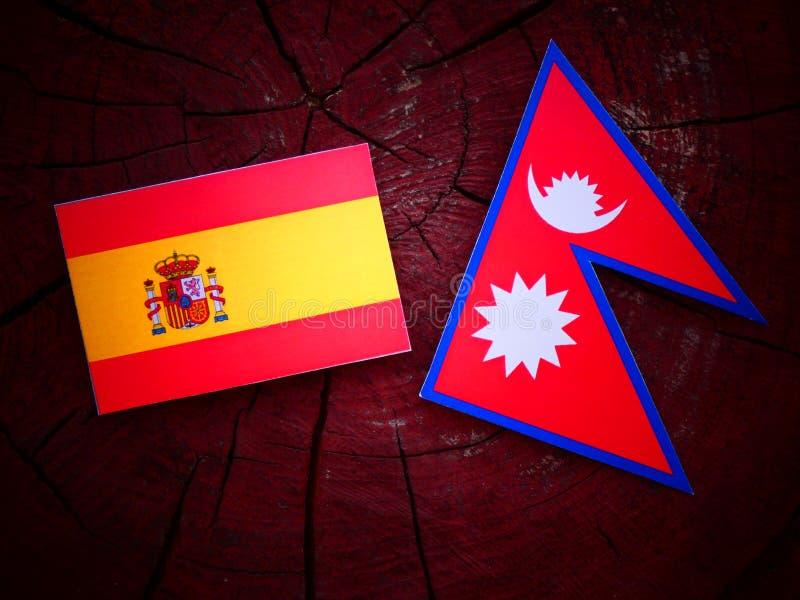 Bandera española con la bandera del Nepali en un tocón de árbol aislado foto de archivo libre de regalías
