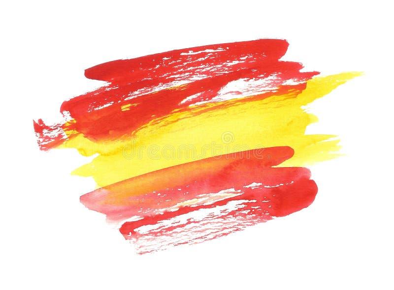 Bandera española de la acuarela, bandera abstracta de España, movimientos anchos del cepillo ilustración del vector