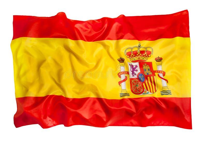 Bandera española de la seda que agita en el fondo blanco foto de archivo libre de regalías