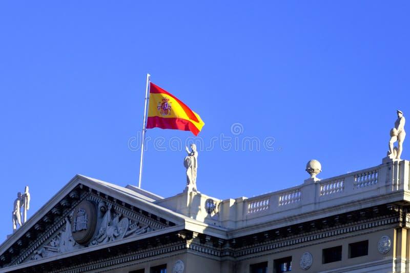 Bandera española en Barcelona fotografía de archivo