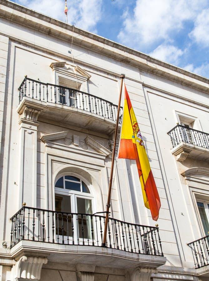 Bandera española en Cartegena foto de archivo