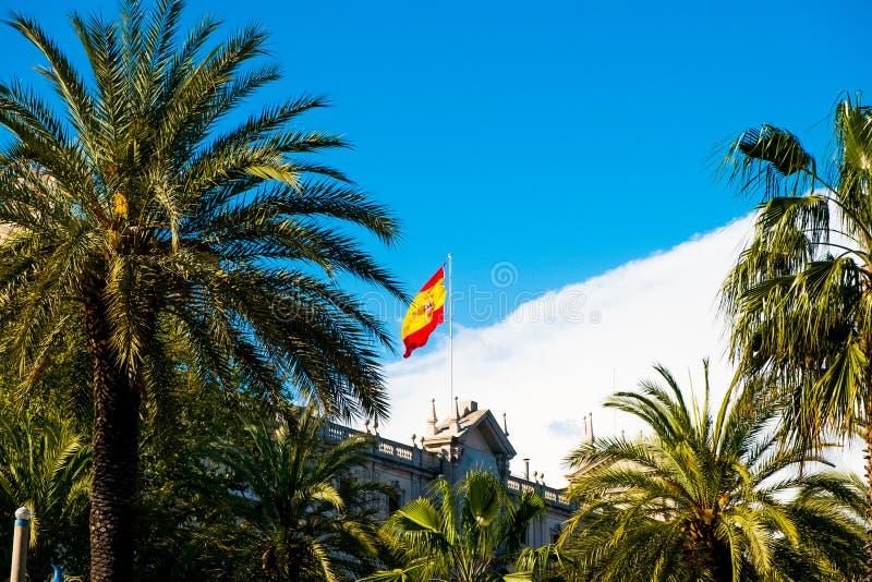 Bandera española en día de verano con las palmeras en Barcelona fotos de archivo