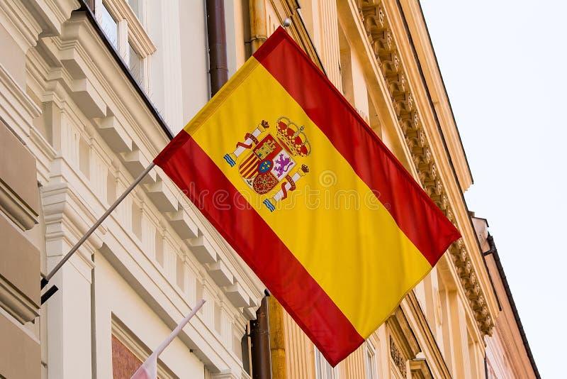 Bandera española en la pared fotografía de archivo libre de regalías