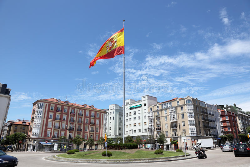 Bandera española en Santander, Cantabria, España imagenes de archivo