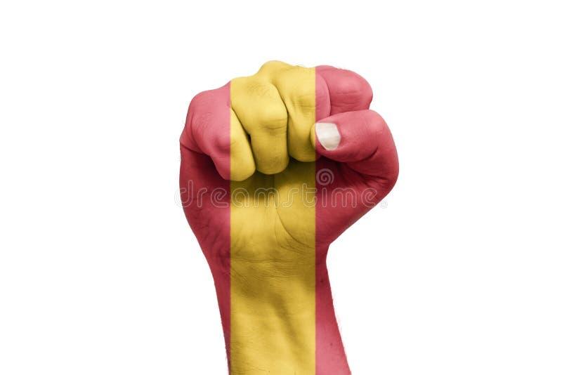 Bandera española pintada a mano con forma del puño referéndum fotos de archivo libres de regalías