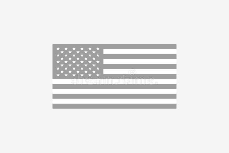 Bandera estadounidense en blanco y negro Símbolo de la nación americana Estados de la Unión Elemento patriótico stock de ilustración