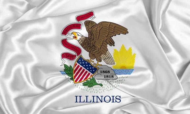 Bandera estatal de la seda Illinois imagen de archivo libre de regalías