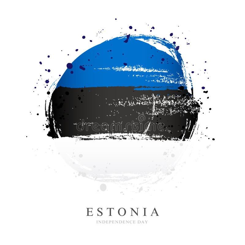 Bandera estonia bajo la forma de círculo grande stock de ilustración