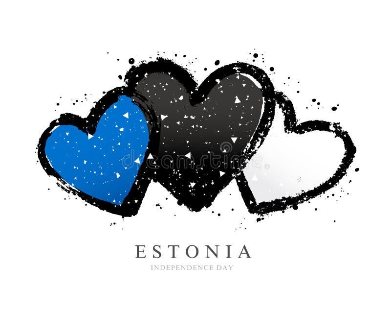 Bandera estonia bajo la forma de tres corazones stock de ilustración