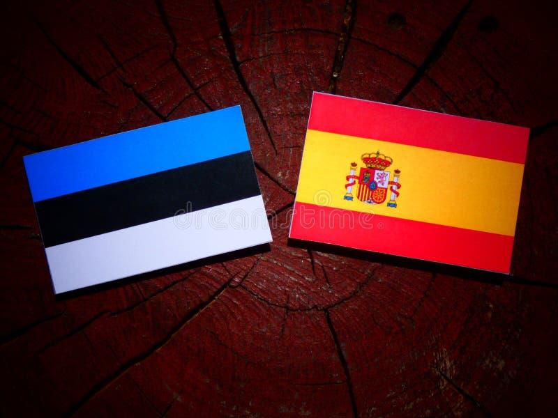 Bandera estonia con la bandera española en un tocón de árbol imágenes de archivo libres de regalías