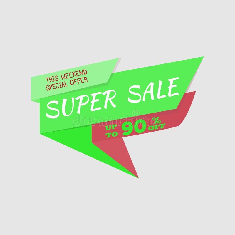 Bandera estupenda de la oferta especial de la venta, el hasta 90% apagado Ilustración del vector Escritura de la etiqueta verde I ilustración del vector