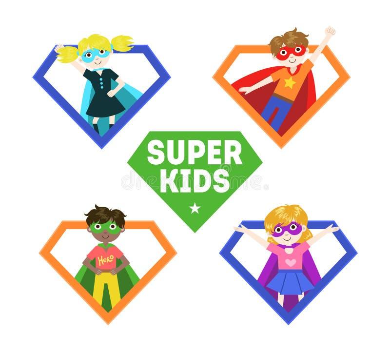 Bandera estupenda de los niños, niños pequeños lindos y muchachas en trajes del super héroe y el ejemplo del vector de las máscar libre illustration