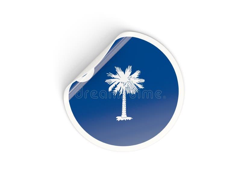 Bandera etiqueta engomada redonda del estado de Carolina del Sur, los E.E.U.U. ilustración del vector