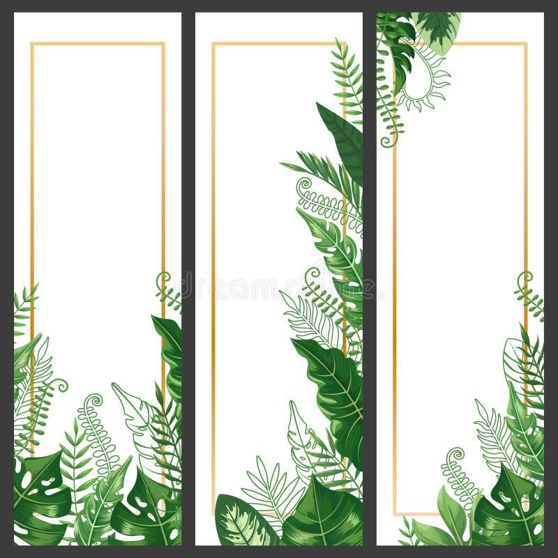 Bandera exótica de las hojas Hoja tropical del monstera, rama de la palma y vector vertical de las banderas de las plantas de la  libre illustration