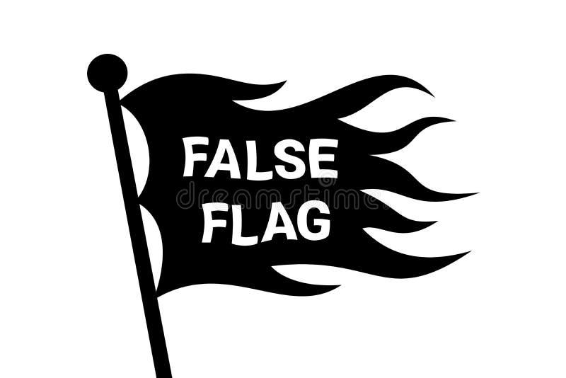 Bandera falsa ondulada en el polo - identidad secreta como método de engaño y de engaño stock de ilustración