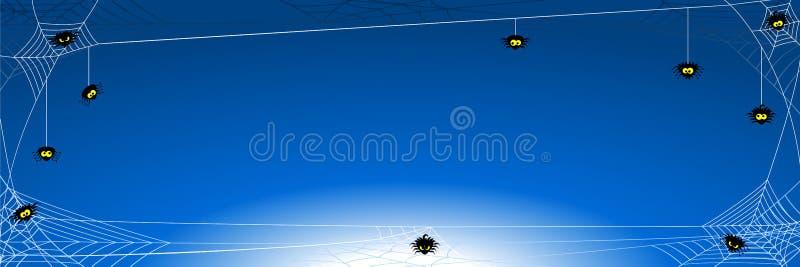 Bandera fantasmagórica del fondo de Halloween con las arañas en red libre illustration