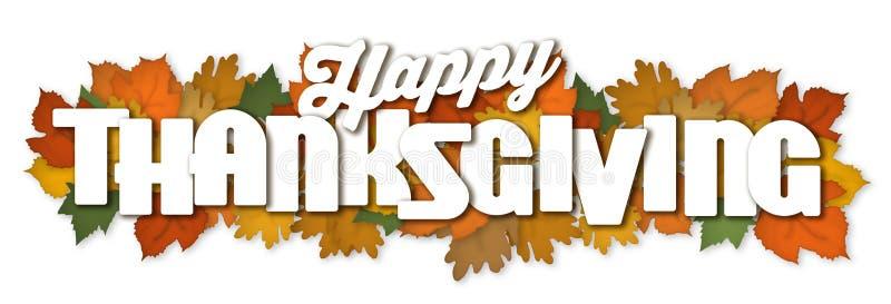 Bandera feliz Art Autumn Leaves de la acción de gracias stock de ilustración