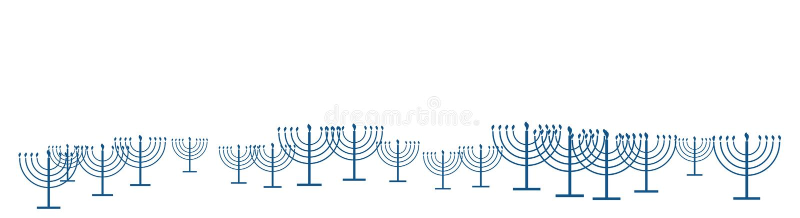 Bandera feliz de la plantilla de Jánuca como modelo de la repetición del menorah simple de Jánuca del esquema con las velas ardie ilustración del vector