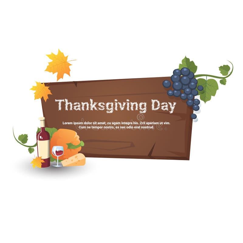 Bandera feliz de la tarjeta de Autumn Traditional Harvest Holiday Greeting del día de la acción de gracias ilustración del vector