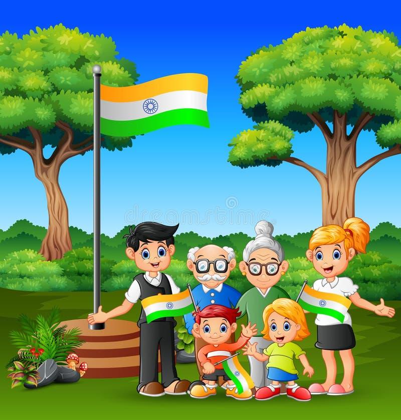 Bandera feliz de la tenencia de la familia de la India con orgullo en día feliz de la república stock de ilustración