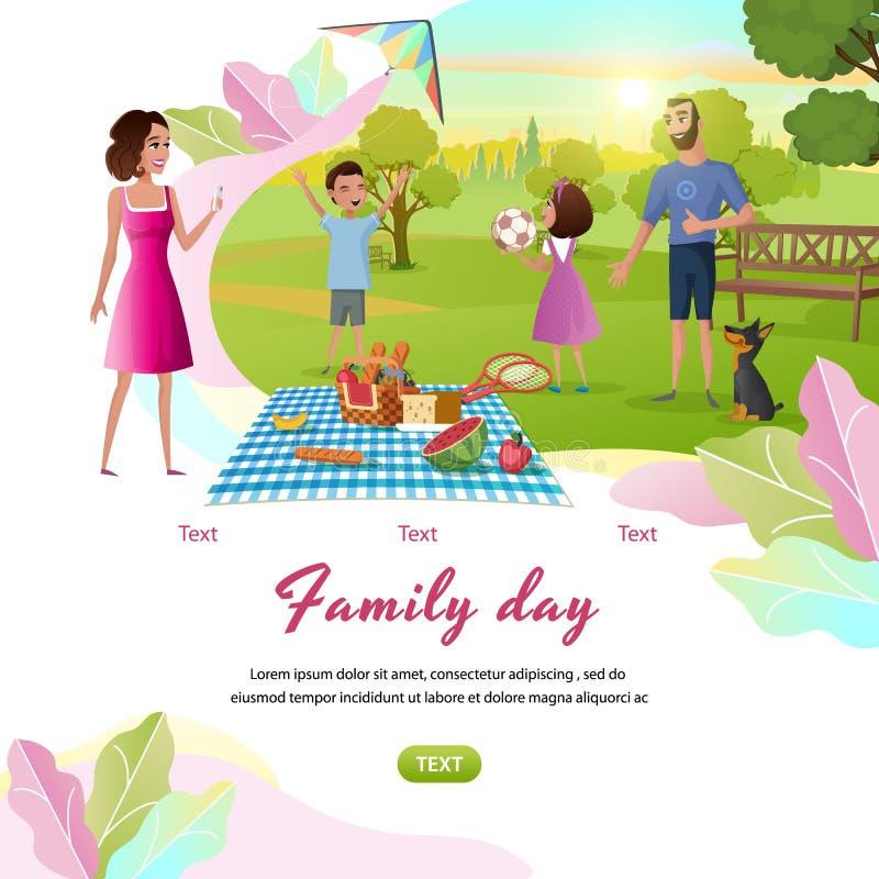 Bandera feliz de la web del vector de la historieta del día libre de la familia libre illustration